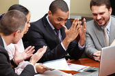 Multi ethnic business team at a meeting. Interacting. — Stock Photo