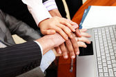 Image of business hands on top of each other. — Stock Photo
