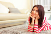 Young beautiful woman at home — Stock Photo
