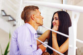 Young beautiful couple having fun at home — Stock Photo