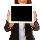 Businesswoman holding touchpad electronic tablet — Stock Photo