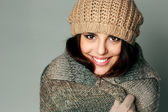 Woman in warm winter outfit — Stock Photo