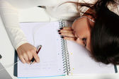 Tired student fallen asleep — Stock Photo