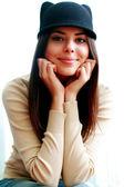 Woman in cute hat — Stok fotoğraf