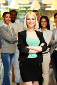 Handsome group of business people in office — Stock Photo