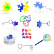 Vector puzzle icons and elements. — Stock Vector #14535345