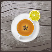 A cup of tea on the wood texture. — Stock Vector