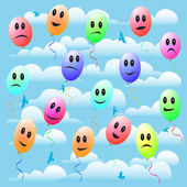 Happy toy balloon with smile in the sky — Stock Vector