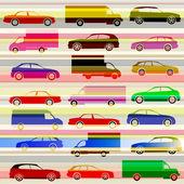 Auto's en licht paden op de snelweg — Stockvector