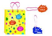 购物袋和销售标签 — 图库矢量图片