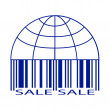 Stock Vector: Sale label stylized as globus and barcode.