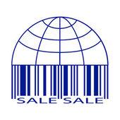 Globus ve barkod stilize satılık etiketi. — Stok Vektör