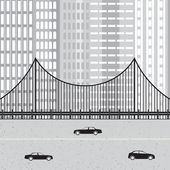 Cityscape with highway, cars, bridge and skyscraper. — Wektor stockowy