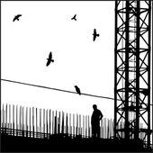 工业城市景观与鸟. — 图库矢量图片