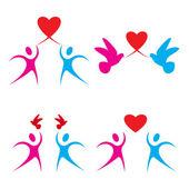 愛の心のシンボルのセット — ストックベクタ