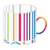 Bir fincan, renkli versiyonu stilize barkod. — Stok Vektör