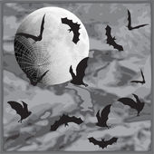 Hallowen, moon, bats and web. — Stock Vector