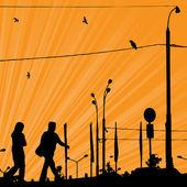 Sunrise şehir. — Stok Vektör
