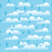 Flying birds on cloud blue sky, seamless vector background. — Stock Vector