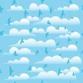 Flying birds on cloud blue sky, seamless vector background. — Stock Vector