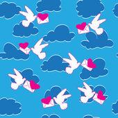 Fågel, hjärta, kuvert och moln. — Stockvektor