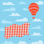 Balloon and banner the the sky — Stockvektor