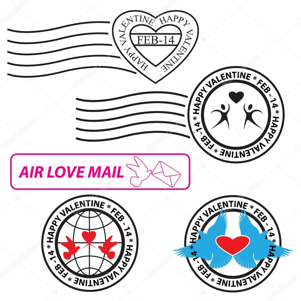 Set of Valentine Love Stamp — Stock Vector #19208187
