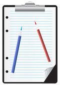 Presse-papiers avec papier et crayons — Vecteur