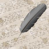φόντο με το χέρι γραφής και φτερό — Διανυσματικό Αρχείο