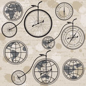 Retro bicycle, globe and compass — Stock Vector