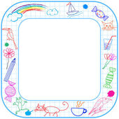 Frame with child drawing — Stock vektor