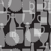 Seamless pattern with beer bottle and glass. — Stock Vector