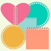 备注贴纸,具有情人节心脏符号的模板. — 图库矢量图片