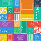 Seamless pattern with goods icons, sale lable. — Stock Vector