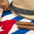 Постер, плакат: Cuban cigar and hat