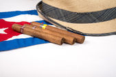 Cuban cigar and hat — Foto de Stock