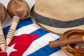 Cuban cigar and hat — Stock Photo
