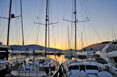 Marina with yachts on sunset — Stock Photo