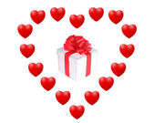 Gift box in the heart — Stock Photo