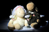 Wedding toys with champagne — Stock Photo
