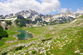 Mountain peaks with lake — Stock Photo