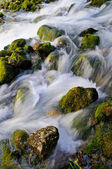 Water flowing over mossy rocks — Stock Photo