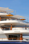 Luxury motor yacht decks — Stock Photo
