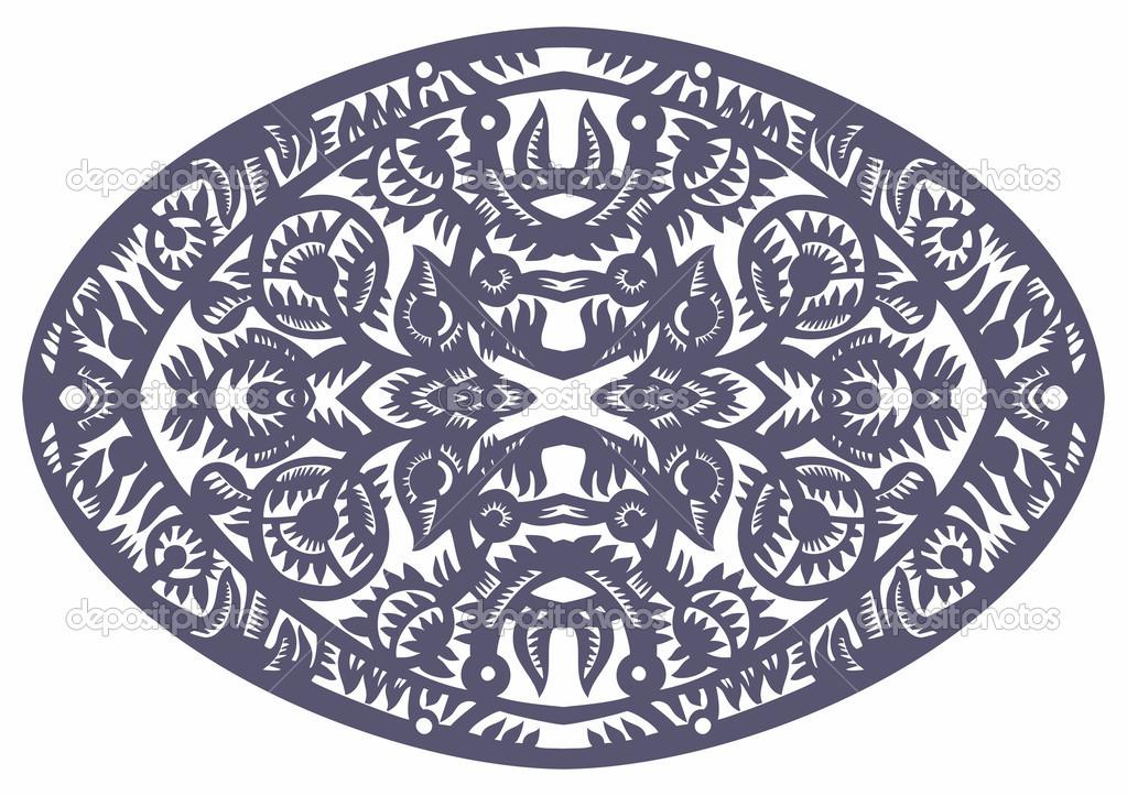 椭圆形蓝色花纹 — 图库矢量图片