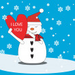 Love snowman with heart — 图库矢量图片