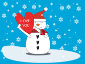 Love snowman with heart — Stock Vector