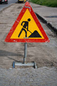 Construction zone sign — Stock Photo