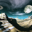 Stock Photo: Fantasy landscape showing flying ships and saturn