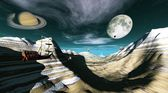 Fantasy landscape showing flying ships and saturn — Stock Photo
