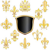 Fleur-de-lis and shield — Stock Vector